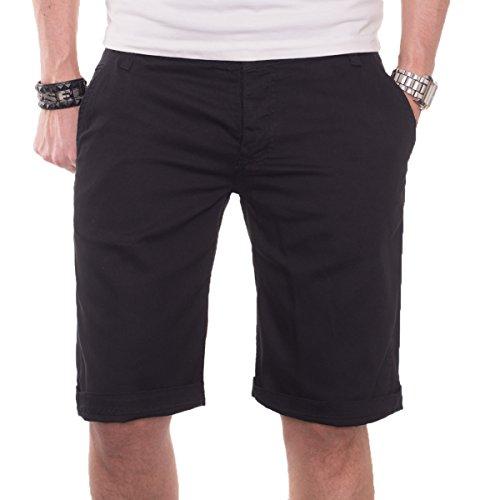 A. Salvarini Herren Shorts kurze Sommer Hose Chino Short Bermuda AS020 [AS020 - Schwarz - W40] (Chino Polo Shorts)