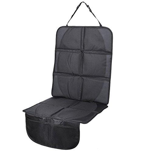 MVPOWER Autositzauflage Autositzschoner zum Schutz vor Kindersitzen Isofix geeignet rutschfest und wasserabweisend Auto Kindersitz-Unterlage 48.5 * 122cm (Schwarz)