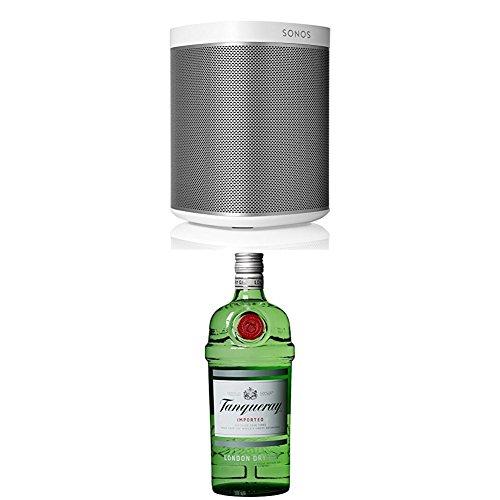 SONOS Play:1 drahtloses Audiogeraet Lautsprecher und Verstaerker netzwerkfaehig Internetradio weiss (P) + Tanqueray London Dry Gin, 1er Pack (1 x 1 kg)