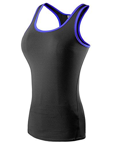 Débardeur de Compression Femme Sans Manches T-shirt Yoga Fitness Basique Top Noir Bleu XL