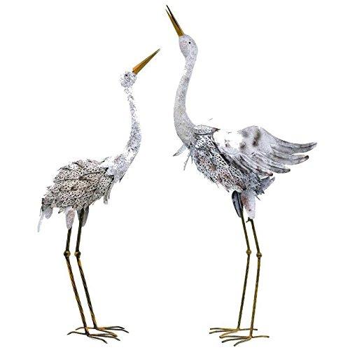 Statue Sculpture Couple Cigogne en Fer Oiseaux
