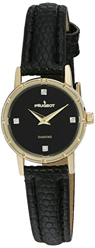 Peugeot Women's 3050BK 14K Gold Plated Genuine Diamond Marker Black Face Leather Dress Analog Display Analog Quartz Black Watch