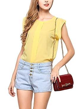 Las Mujeres Verano Casual Cap Sleeve Chiffon Shirt Blusas Tops Tee