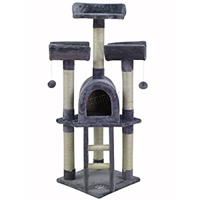 FoxHunter Deluxe Multi Level Cat Scratcher Cat Tree Activity Centre Scratching Post Activity Toys M003 Beige Faux Fur 40cm x 40cm x 115cm Height