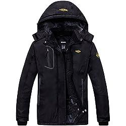 Wantdo Femme Anorak Veste de Ski avec Polaire Coupe-Pluie Coupe-Vent Imperméable Hiver Manteau Sportif Noir X-Large