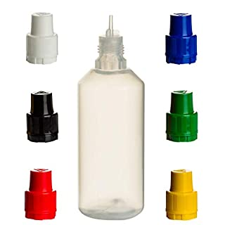 8 Stück Liquid-Flaschen 100ml mit Gemischten Deckelfarben - LDPE Quetschflasche für Flüssigkeiten, Augentropfen, E-Liquid mischen für E-Zigarette, Lebensmittel-Farben, Aromen