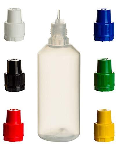 ReiTrade 10 Stück Liquid-Flaschen 100ml mit Gemischten Deckelfarben - LDPE Quetschflasche für Flüssigkeiten, Augentropfen, E-Liquid mischen für E-Zigarette, Lebensmittel-Farben, Aromen -