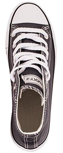 Elara Unisex Sneaker | Sportschuhe für Herren Damen | High Top Turnschuh Textil Schuhe 36-47 Grau
