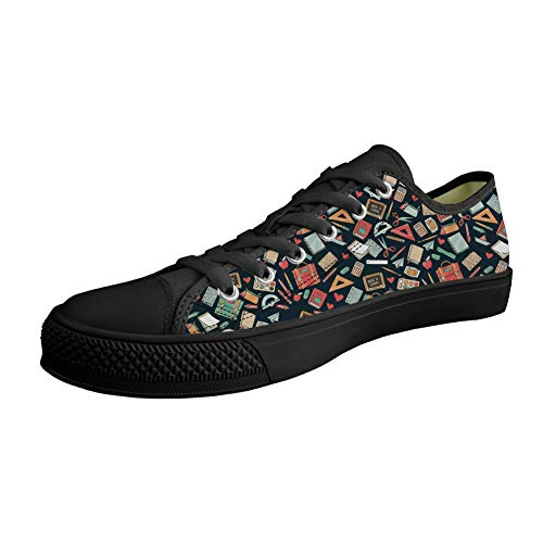 660e5adf515ba Showudesigns Women's Canvas Low Top Sneaker Teacher School Lace-up Classic  Casual Shoes Flats Fashion Pattern Size 5