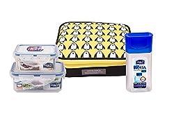 Lock & Lock Penguin Fusion Plastic Lunch Box with Bag Set, 3-Pieces, Multicolour