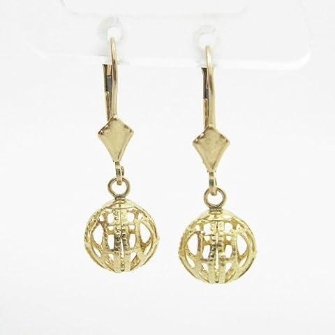 charm-pendants Womens bp58Orecchini a perno italiana, Oro bianco 14K cerchio