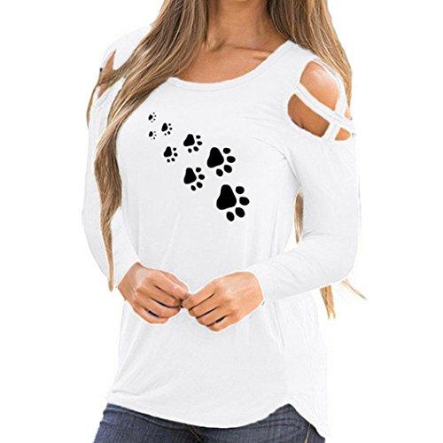 Ode_joy top stampato a maniche lunghe con spalle scoperte da donna t-shirt manica lunga stampa estiva elegante maglietta felpa pullover camicetta bagno vestito beachwear tops(a-bianco,s)