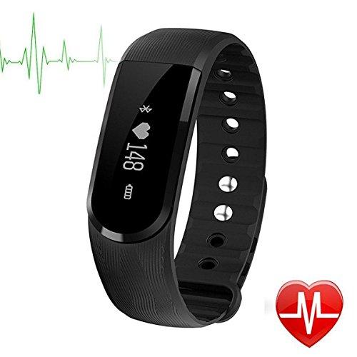 Herzfrequenz Fitness Tracker,CAMTOA ID101 Fitness Armband Pulsuhr Aktivitätstracker Wasserdicht IP67 - Schrittzähler,SMS Anrufe,Kalorienverbrauch,Kamera-Fernbedienung,ID Benachrichtigung,Musiksteuerung und Handy-Suchfunktion(USB Anschluss direkt laden) Schwarz