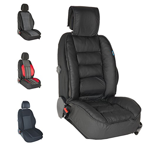 DBS - Couvre Siège Luxe - Voiture/Auto - Noir - Grand Confort - Antidérapant - Compatible Airbag - Universel