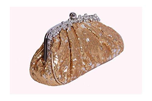 Perfect Handbags , Damen Clutch Gold gold (Geldbörse Satin Abend Kupplung Handtasche)