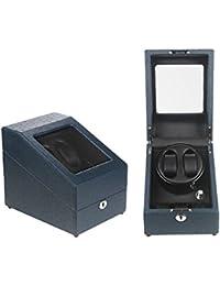 2 + 3 watch winder estuche bobinadora para relojes de cuero de imitación con 5 modos de rotación,movimiento rotativo, motor silencioso y cerradura,plug-in o 2 pilas AA, deep blue