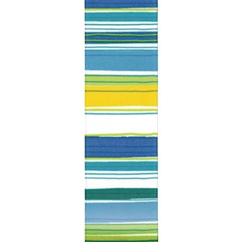 Offray Retro Stripe Craft Ribbon, 1 1/2-Inch x 9-Feet, Blue & Green by Offray