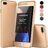 Mobilyos Funda iPhone 7 Plus 360 Grados Completa - Carcasa Integral con X2 Protector de Pantalla de Vidrio Templado para Apple iPhone 7 Plus - Funda Delantera y Trasera con Cristal Templado (Oro)