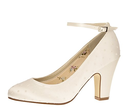 2d5a1bfdc28a00 Rainbow Club Brautschuhe Polly - Pumps Riemchen Ivory - Blockabsatz - Gr  39.5 EU 6.5 UK