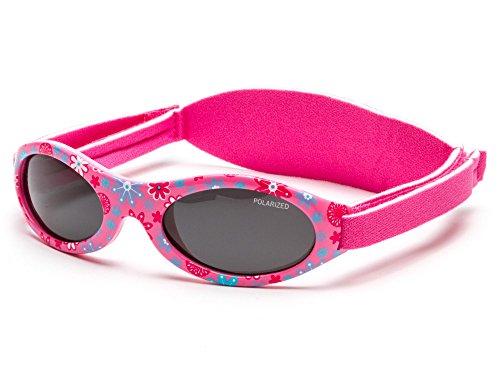 Kiddus Sonnenbrille Baby PREMIUM für Mädchen | Alter 0 Monate bis 2 Jahre. MIT WEICHEM SILIKON, POLARISIERTEN GLÄSERN UND EINSTELLBARER SOFT BAND. SUPER KOMFORTABEL | 100% UV-Schutz. KI30306