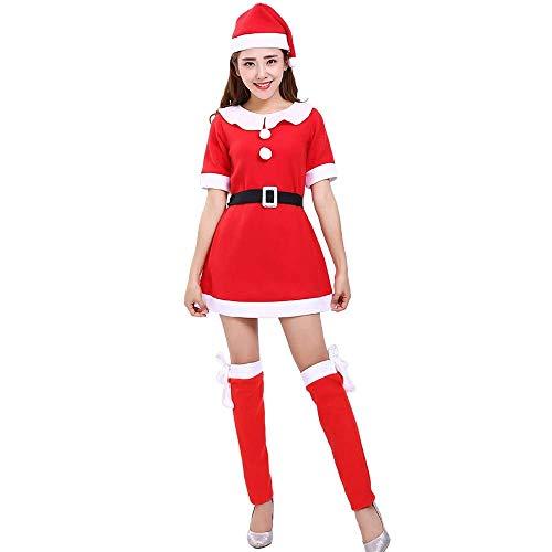 Damen Weihnachten Kostüm Santa Costume Herbst Winter Party Stil Mode Party Festlich Elegante Cosplay Outfit Faschingskostüme Große Größen Mädchen (Color : Rot, Size : ()