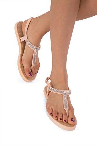 Infradito piatte Diamante da donna o bambina, in gel, con perline, calzature da spiaggia. Taglie: 3, 4, 5, 6, 7, 8 (Regno Unito), 36, 37,5, 39, 40, 41,5, 42,5 (Europa). Rosa chiaro