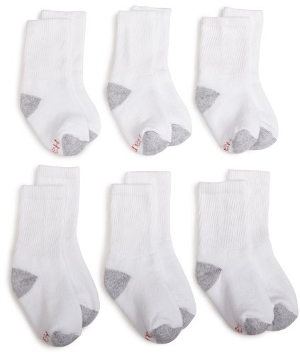 Hanes Ultimate Boys' Crew EZ Sort® Socks 6-Pack 9-11 White (6 Pack Athletic-crew Socke)