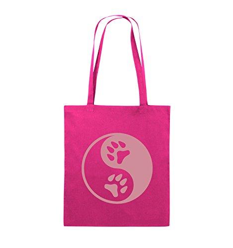 Comedy Bags - YING YANG - PFOTE2 - Jutebeutel - lange Henkel - 38x42cm - Farbe: Schwarz / Pink Pink / Rosa