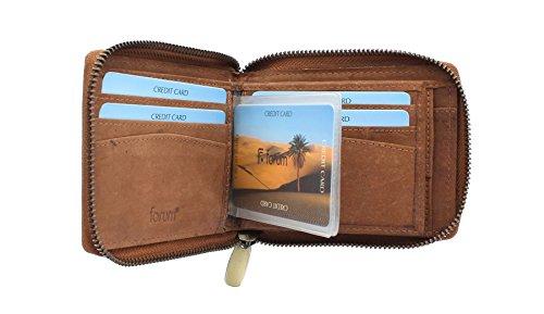 Floren SIROCCO Kollektion Leder Zip Around Wallet 45002 Tan - Button Zip Wallet