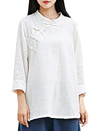 2685894e36f67 Xinantime Top Chemise Femmes, Femmes à Manches Longues Bouton Chinois Kung  Fu Casual Blouse Top