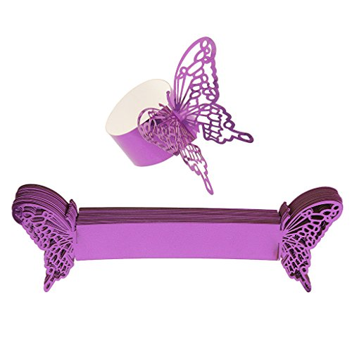 MagiDeal 50pcs Schmetterling Muster Serviettenringe Serviettenhalter für Papierservietten Halloween Party Dekor, aus Papier - Lila, 21 x ()