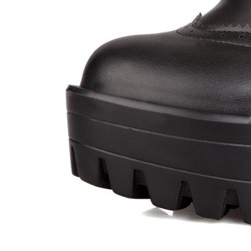 VogueZone009 Femme Givr¨¦es PU Chaussures Pompes Solides Talon Haut et Gros Plate-Forme Bout Rond Ferm¨¦ Noir