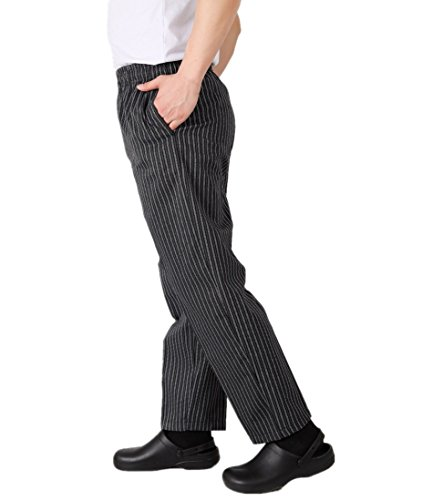 WAIWAIZUI Herren Kochhose Gummizug Streifen Schwarz L/(Herstellergröße:3XL) - 3