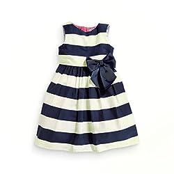 Rosennie Girl Kids Children Stripe Knot Bow Summer Princess Cute Party Dress