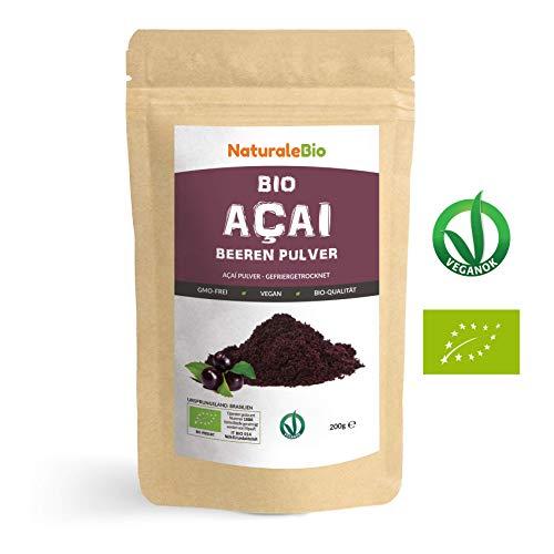 Açaí Beeren Pulver Bio [ Gefriergetrocknet ] 200g | Pure Organic Acai Berry Powder ( Freeze-Dried ) | 100% aus Brasilien, Getrocknet, Rohkost und Extrakt aus Pulp der Acai-Beeren Frucht | NATURALEBIO -