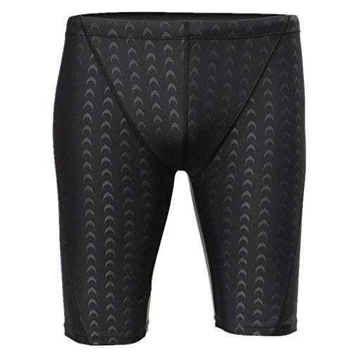 DLD Traje de baño para Hombres Piel de tiburón Negro Troncos de natación para Hombre de Secado rápido...