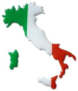 Italien Italia Italy Silhouette Stiefel 3D Premium Sticker / Aufkleber von blobboc – grün, weiß, rot – hochwertiges flexibles Kunststoff-Material – waschanlagenfest (61mm x 70mm x ca. 1,5 mm)
