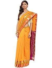 CLASSICATE From the house of The Chennai Silks Traditional Silk Saree with Colorblock Border (CCMYSS10396 - Autumn Glory Orange)