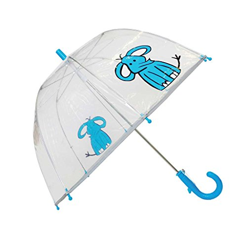 SMATI Kinderregenschirme - Transparenter Stockschirm Glockenform - Der erste Fluoreszierende Rengenschirm für die Sicherheit Ihres Kindes (Blau Elefant)