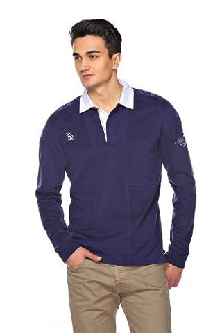 M.Conte Herren Poloshirt Polo-Sweat Langarm Munoz Dunkelblau