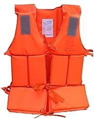 kuulee regla vida chaleco para adulto con silbato de supervivencia y cinta reflectante para natación, canotaje y a la deriva al aire libre deportes acuáticos color: naranja