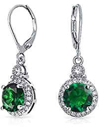 Bling Jewelry Simulated Green Emerald CZ Bridal Drop Earrings Rhodium Plated