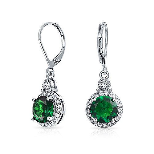 Simulated Green Emerald CZ Bridal Drop Earrings Rhodium Plated (Emerald Green Ohrringe Modeschmuck)