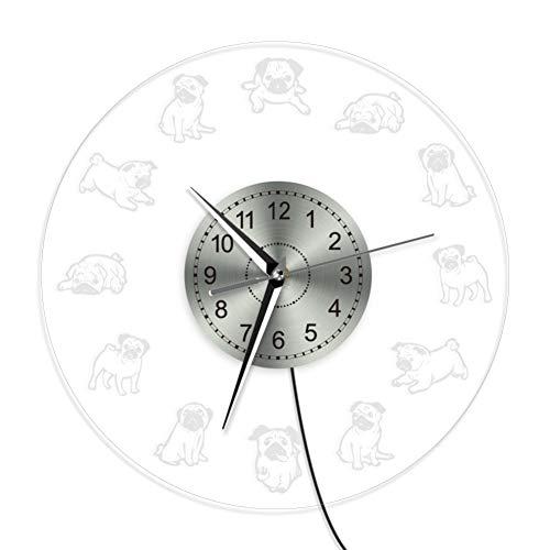 FOFJDIF Pug Life Wanduhr Cartoon Möpse Led Neon Zeichen Beleuchtete Acryl Wanduhr Große Mops Liebhaber Geschenk Kühlen Wohnzimmer Innen Dekor