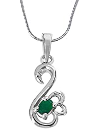 Surat Diamond Green Oval Emerald In Peacock Shape 925 Sterling Silver Pendant For Girls With 18 IN Silver Finished...