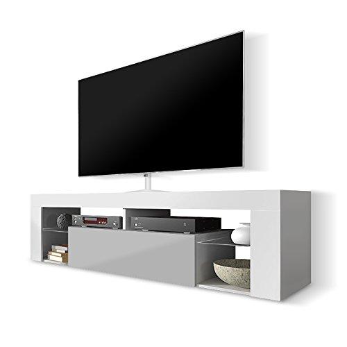 Selsey - Meuble TV avec porte pliante Blanc mat/gris brillant 140 cm