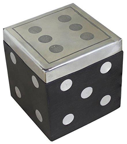 SKAVIJ Würfelspiel für Senioren Holzbox Quadratisch Handgearbeitete Inlay Komplette 5 Würfel 20 mm Familienspiele - 6,5 mm