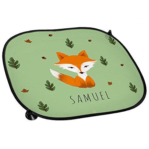 Auto-Sonnenschutz mit Namen Samuel und schönem Motiv mit Aquarell-Fuchs für Jungen | Auto-Blendschutz | Sonnenblende | Sichtschutz