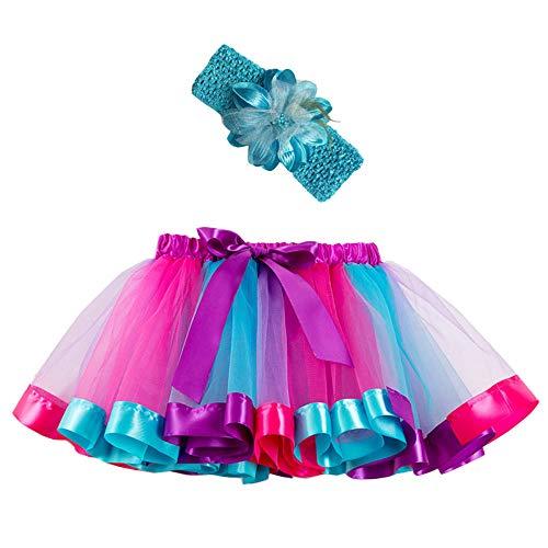 Mädchen Kinder Tutu Rock, zweiteiliges Set Party Tanz Ballett Kleinkind Baby Regenbogen Kostüm Rock + Stirnband Set Karneval Ostern - Tanz Kostüm Firma