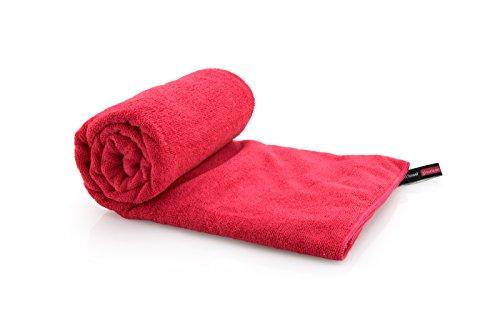 Mikrofaser Handtuch, Badetuch, Reisehandtuch für Sport, Trekking, Outdoor - ultra leicht und kompakt, extrem saugfähig und flauschig, schnelltrocknend, schmutzabweisend - rot 100x180 (Frottee-strand-tasche)